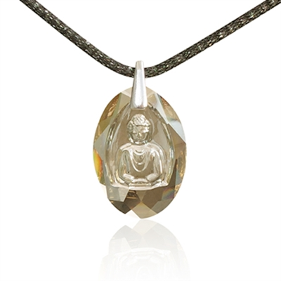 "Image of   Buddha halskæde UNISEX ""Crystal Golden Shadow"""