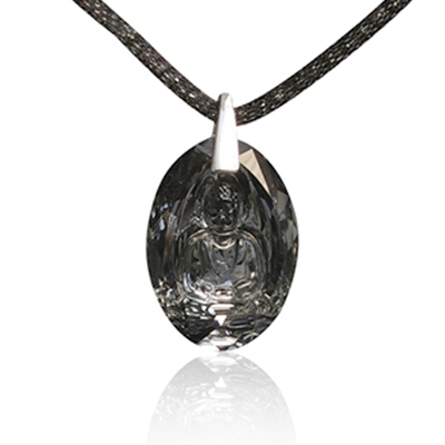 "Image of   Buddha halskæde UNISEX ""Crystal Silver Night"""