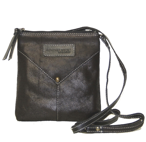 Image of   Crossbody i kaffefarvet skind